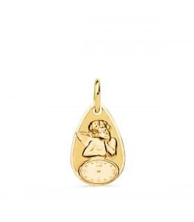 Medalla  ángel y reloj gota oro 9ktes