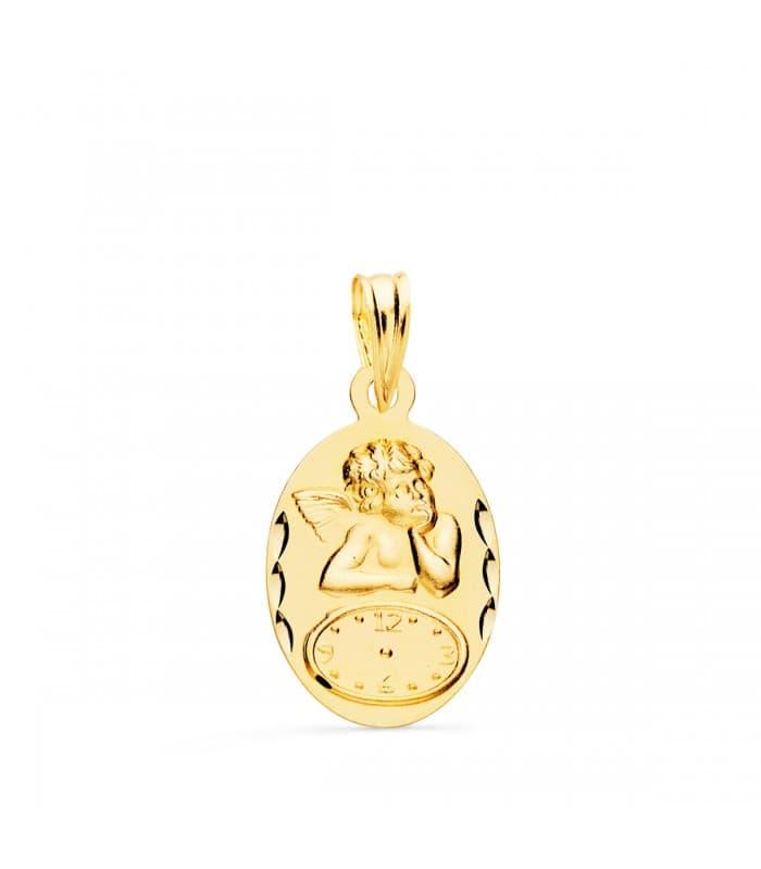 Medalla ángel y reloj oval oro 9ktes