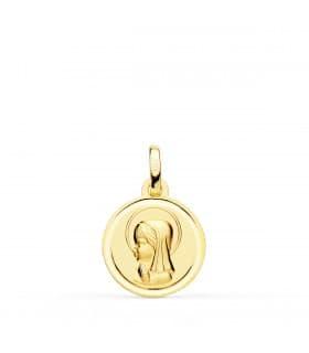 Medalla Virgen niña bisel oro 18k joyas comunion personalizadas colgante grabado