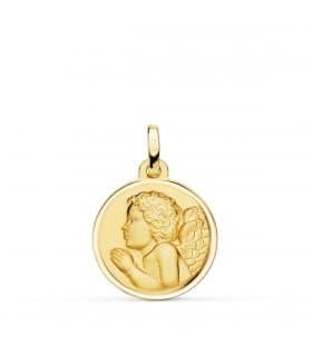 Medalla Dulce Niño de la flor Oro 18k 16mm