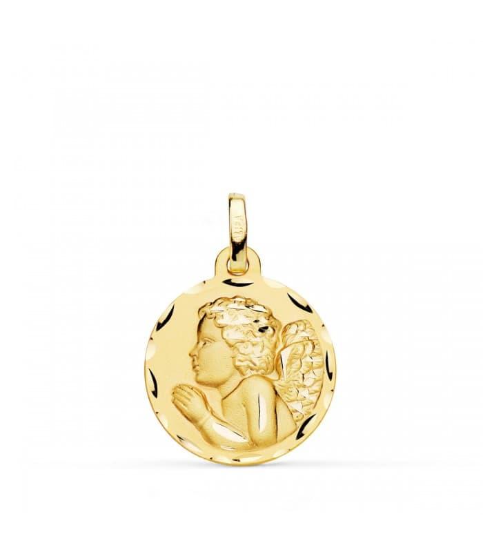 comprar joyas online - Medalla Angelito Rezando Oro 18K 18mm Tallada