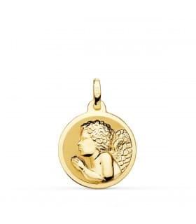 comprar joyas online - Medalla Angelito Rezando Oro 18K 18mm Brillo
