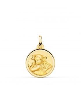 comprar joyas online - Medalla Niña Ángel Oro 18K 16mm Bisel - joyas de bebé e infantiles