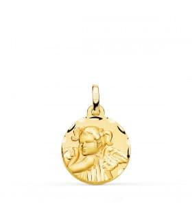 Medalla Niña Ángel Oro 18K 16mm Tallada - comprar joyas de bebe online