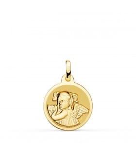 Medalla Niña Ángel Oro 18K 16mm Brillo - comprar joyas de bebe online