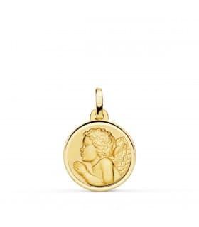 comprar joyas para bebe online - Medalla Angelito Rezando Oro 18K 16mm Bisel