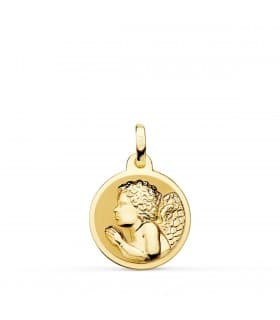 comprar joyas online - Medalla Angelito Rezando Oro 18K 16mm Brillo - joyeria infantil regalos para bebe