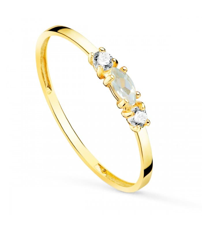 Anillo Aguamarina Oro Amarillo 18K Always
