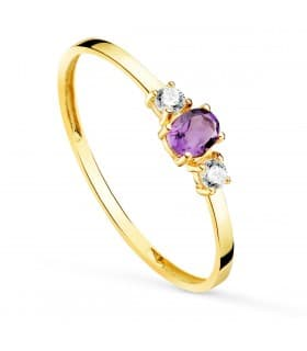 Anillo Amatista Oro Amarillo 18K Always