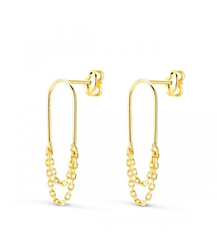 Pendientes Sand Clip & Chain Oro 18K