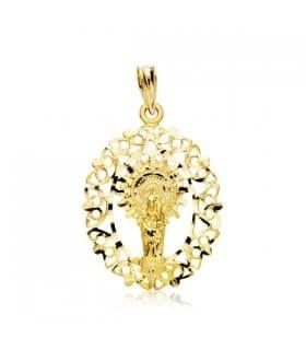 Medalla calada Virgen del Pilar 18 Ktes 36mm