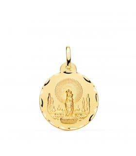 Medalla Virgen del Pilar 18 Ktes 18mm Tallada