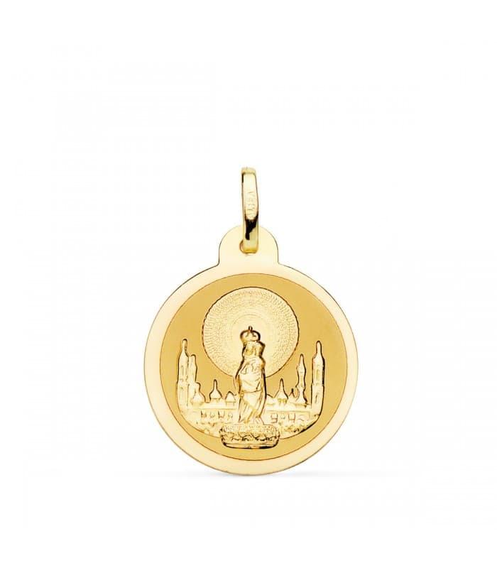 Medalla Virgen del Pilar 18 Ktes 20mm Brillo