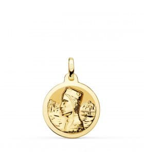 Medalla Virgen de Montserrat Oro 18K 18mm Brillo