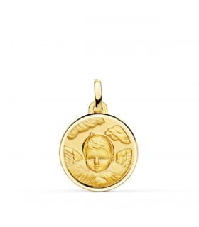 Medalla Ángel Nube Oro 18K 18mm Bisel
