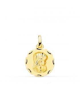 Medalla Virgen Niña Oro Amarillo 18 Ktes 16 MM Tallada