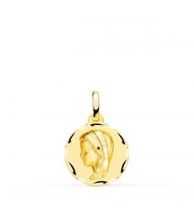 Medalla Virgen Niña Tallada Oro Amarillo 18 K 14 MM