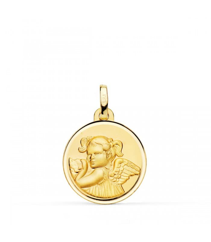 Medalla Niña Ángel Oro 18K 18mm Bisel