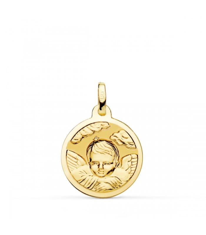 Medalla Ángel Nube Oro 18K 18mm Brillo