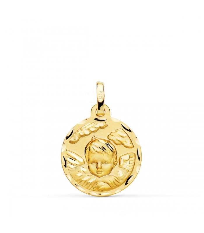 Medalla Ángel Nube Oro 18K 18mm Tallada