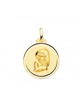 Medalla Virgen niña rezando 18K Bisel 20mm