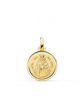 Medalla Virgen del Rocío Oro 18K Bisel 18 mm