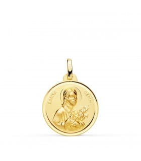 Medalla Santa Gema Oro 18K Bisel 18mm