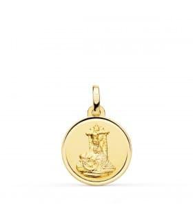 Medalla Virgen de las Angustias Oro 18K 16 mm Bisel