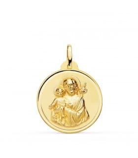 Medalla San José Oro 18K 22mm Bisel