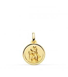 Medalla San Cristóbal Oro 18K 14mm Bisel