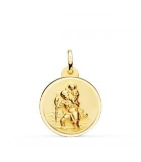 Medalla San Cristóbal Oro 18K 20mm Bisel