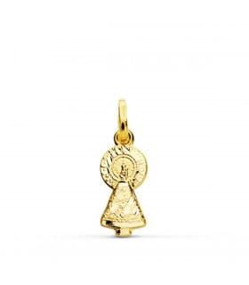 Medalla silueta Virgen del Pilar 18 Ktes 25mm