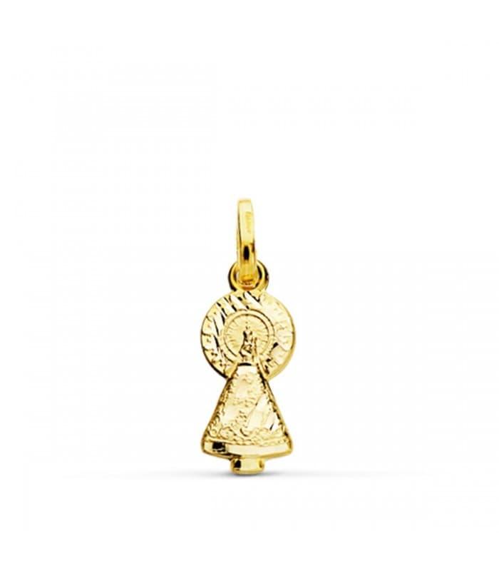 Medalla silueta Virgen del Pilar 18 Ktes 16mm