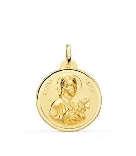 Medalla Santa Gema Oro 18K Bisel 22mm