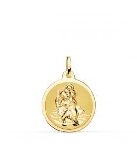Medalla San Cristóbal Oro 18K 18mm Brillo