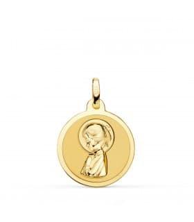 Medalla Virgen niña brillo 18 Ktes 18mm