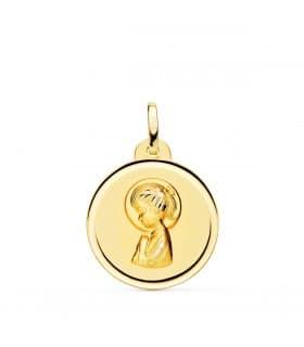 Medalla Virgen niña bisel 18 Ktes 20mm