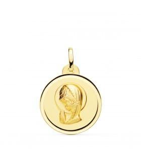 Medalla Virgen niña bisel 18Ktes 20mm