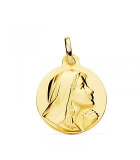 Medalla Virgen María 18 Ktes 18mm