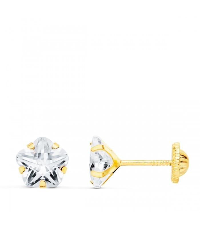Pendientes Niña Oro 18K Millie Circonita 6mm