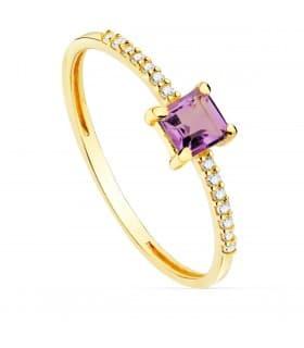 Anillo Loren Oro 18K Diamantes 0.070 Qts. Amatista