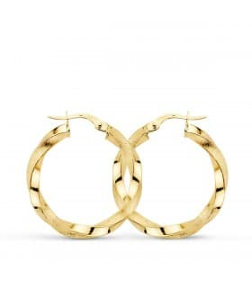 Pendientes aros Twisted oro amarillo 18 kilates 25 mm