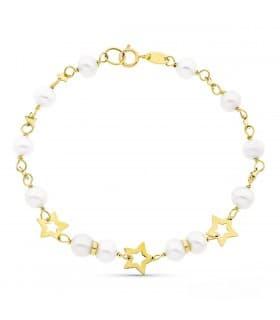 Pulsera Comunión Estrellas oro 9 ktes