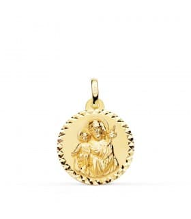 Medalla San José Oro 18K 18mm Tallada