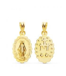 Medalla Virgen Milagrosa Oro Amarillo 18 K 18 mm
