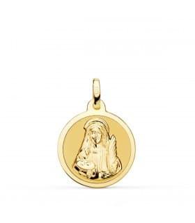 Medalla Santa Lucía Oro 18K 18mm Brillo