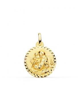 Medalla personalizable San Antonio Oro 18K 18mm Talla joyas religiosas colgantes con grabado
