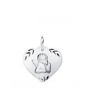 Medalla Ángel Burlón Oro Blanco 9k Corazón