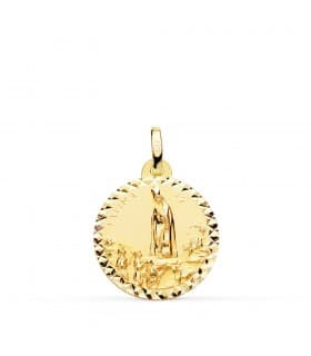 Medalla Virgen de Fátima Oro 18K 18mm Talla