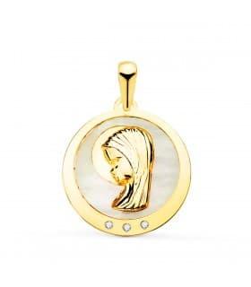 Medalla Comunión Oro 18K Virgen niña Nácar 19mm